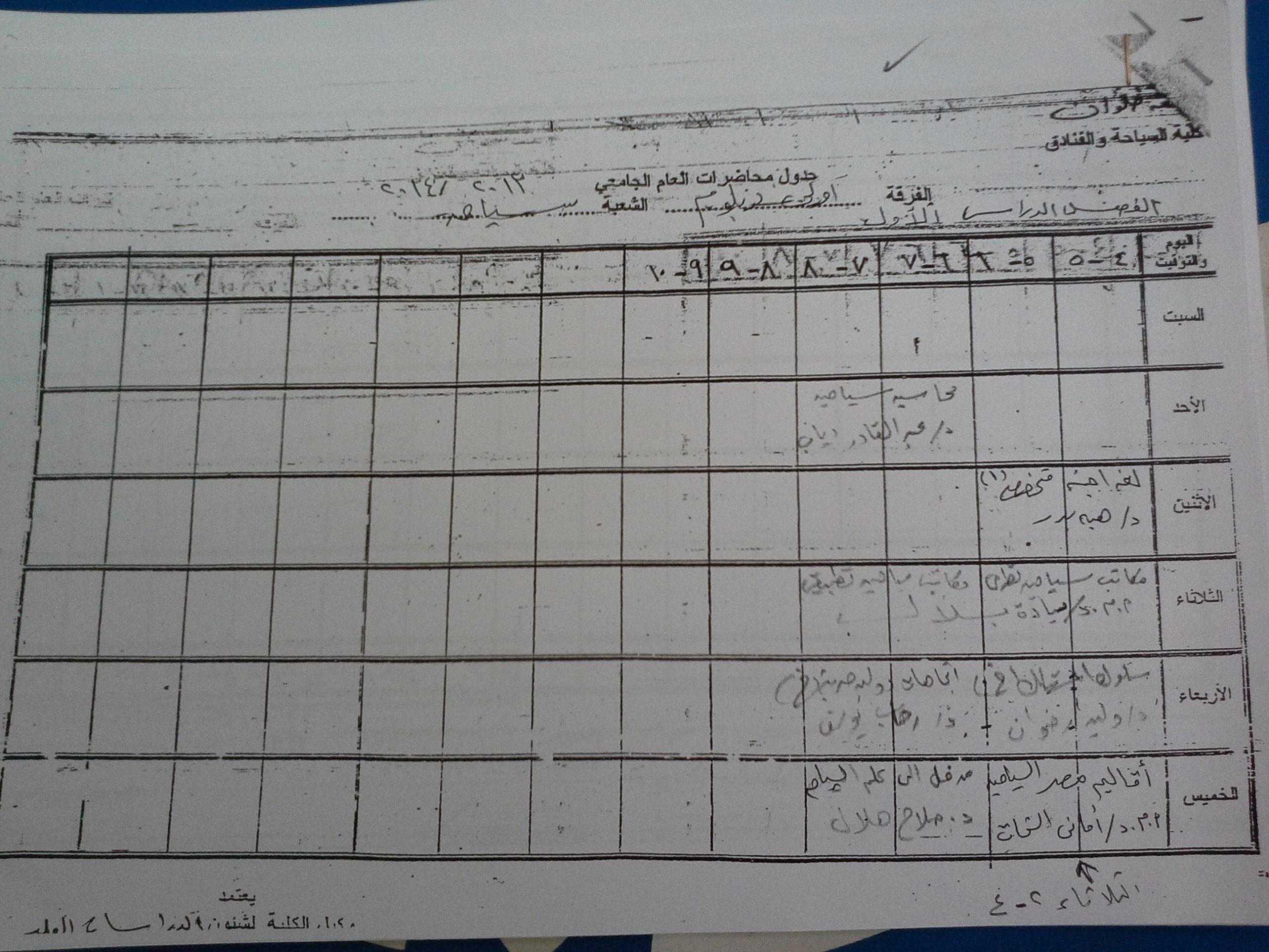 جدول دبلوم دراسات عليا